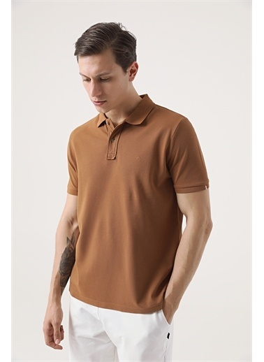 Damat Damat Vizon 60/2 Merserize T-Shirt Kahve